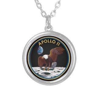 NASA Apollo 11 Moon Landing Lunar Patch Insignia Silver Plated Necklace