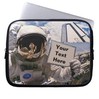 NASA Astronaut Holding Sign - Add Custom Text Computer Sleeve