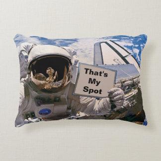 NASA Astronaut Holding Sign - Add Custom Text Decorative Pillow