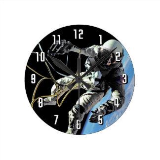 NASA First American Astronaut Spacewalk Photo Round Clock
