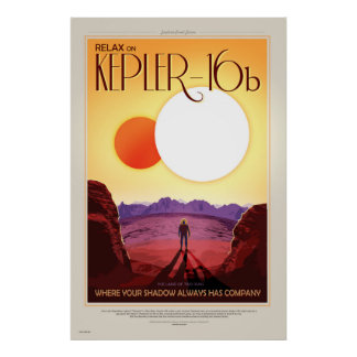 NASA Future Travel Poster - Relax on Kepler 16b