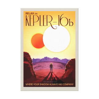 NASA Future Travel Poster - Relax on Kepler 16b Canvas Print