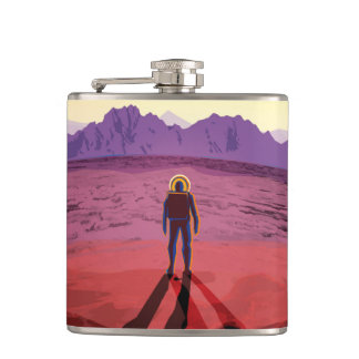 NASA Future Travel Poster - Relax on Kepler 16b Hip Flask
