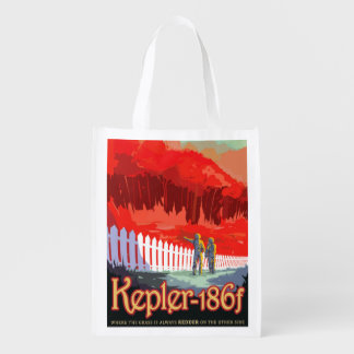 NASA Future Travel Sci Fi Poster - Kepler 186f Reusable Grocery Bag