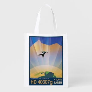 NASA Future Travel Sci Fi Poster - Super Earth Reusable Grocery Bag