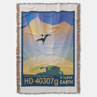 NASA Future Travel Sci Fi Poster - Super Earth Throw Blanket