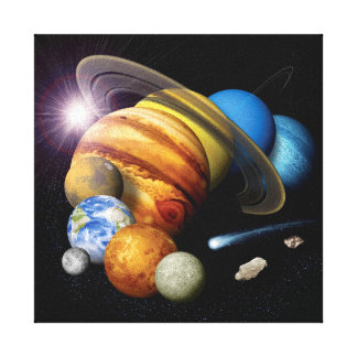 NASA JPL Solar System Planets Montage Space Photos Canvas Print
