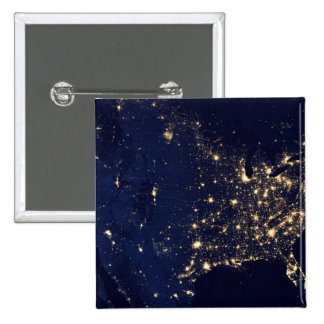 Nasa Lights from Space USA 2 Inch Square Button