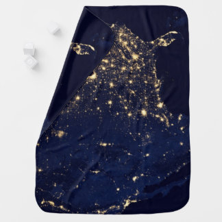 Nasa Lights from Space USA Baby Blanket