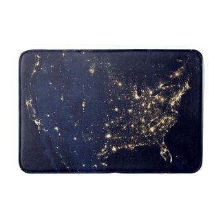 Nasa Lights from Space USA Bathroom Mat