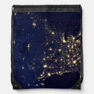 Nasa Lights from Space USA Drawstring Bag