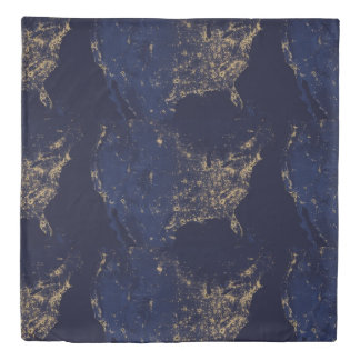 Nasa Lights from Space USA Duvet Cover