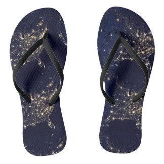 Nasa Lights from Space USA Flip Flops
