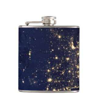 Nasa Lights from Space USA Hip Flask