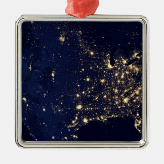 Nasa Lights from Space USA Metal Ornament
