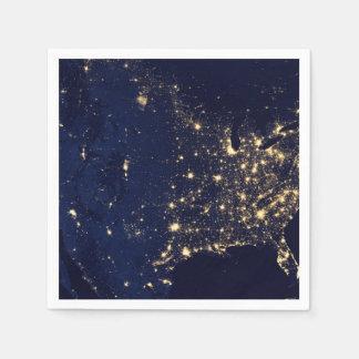Nasa Lights from Space USA Napkin
