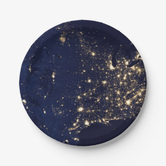 Nasa Lights from Space USA Paper Plate