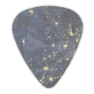 Nasa Lights from Space USA Pearl Celluloid Guitar Pick