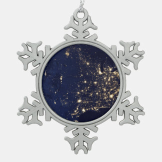 Nasa Lights from Space USA Pewter Snowflake Ornament