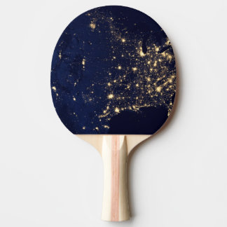 Nasa Lights from Space USA Ping Pong Paddle