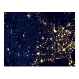 Nasa Lights from Space USA Postcard