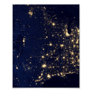 Nasa Lights from Space USA Poster