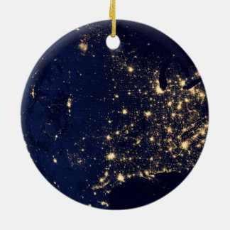 Nasa Lights from Space USA Round Ceramic Ornament