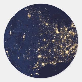 Nasa Lights from Space USA Round Sticker