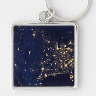 Nasa Lights from Space USA Silver-Colored Square Keychain