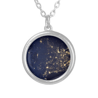 Nasa Lights from Space USA Silver Plated Necklace