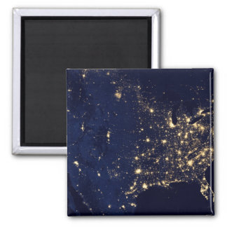 Nasa Lights from Space USA Square Magnet