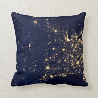 Nasa Lights from Space USA Throw Pillow