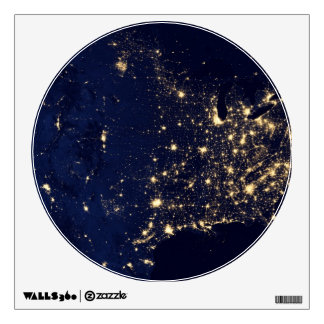 Nasa Lights from Space USA Wall Sticker