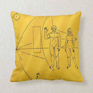 NASA Pioneer 10 Space Probe Gold Plaque Throw Pillow