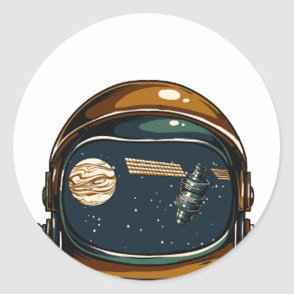 nasa satellite and the moon classic round sticker