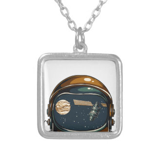 nasa satellite and the moon silver plated necklace