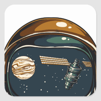 nasa satellite and the moon square sticker
