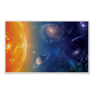 NASA Solar System Outer Space Collage Poster