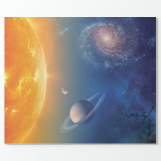 NASA Solar System Outer Space Collage Wrapping Paper