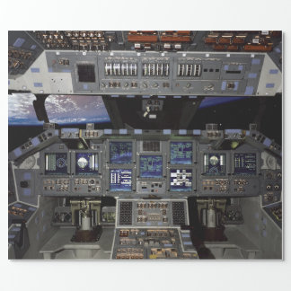 NASA Space Shuttle Cockpit Earth Orbit Window View Wrapping Paper