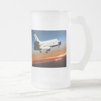 NASA SPACE SHUTTLE FLYING INTO COCOA BEACH 16 OZ FROSTED GLASS BEER MUG