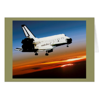 NASA SPACE SHUTTLE FLYING INTO COCOA BEACH GREETING CARD