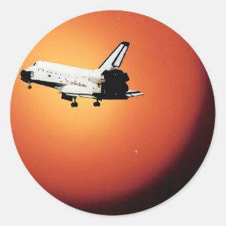 Nasa Space Shuttle Sun Round Sticker