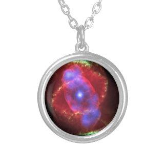 NASAs Cat's Eye Nebula Silver Plated Necklace