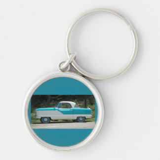 Nash Hudson Metropolitian blue and white Silver-Colored Round Keychain