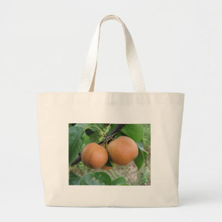 Nashi pears hanging on the tree large tote bag