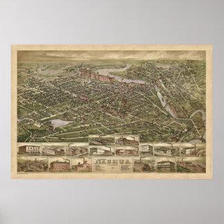 Nashua NH panoramic birdseye view 1883 Poster