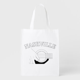 Nashville Acoustic Guitar Reusable Grocery Bag