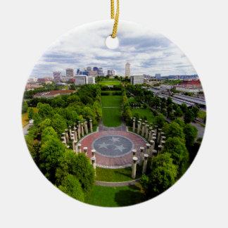 Nashville Aerial photo Round Ceramic Ornament