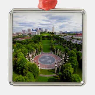 Nashville Aerial photo Silver-Colored Square Ornament